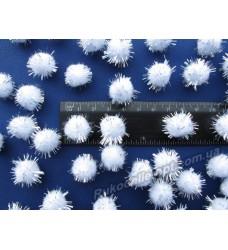 Помпоны с люрексом 15 мм цвет белый