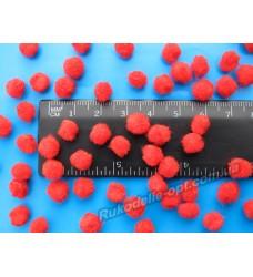 Помпоны мягкие красного цвета 8 мм.