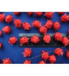Помпоны мягкие с люрексом красного цвета 15 мм.