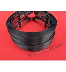 Ободок для волос метал с черным атласом 5 мм.