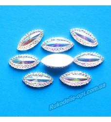 Камни кабошоны All Star маркиз новый 7*15 мм цвет crystal АВ 1000 шт.