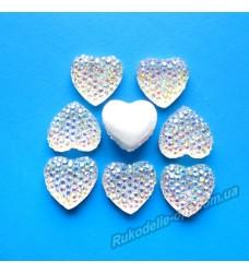 Камни кабошоны All Star сердце 12 мм цвет crystal AB 500 шт.