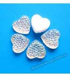 Камни кабошоны All Star сердце 14 мм цвет crystal AB 500 шт.