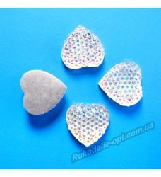 Камни кабошоны All Star сердце 16 мм цвет crystal AB 400 шт.