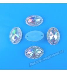 Камни кабошоны All Star пришивные овал новый 13*15 мм цвет crystal AB 1000 шт.