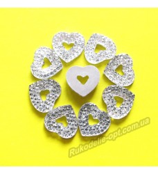 Камни кабошоны All Star сердце с пустой серединкой 12 мм цвет crystal 1500 шт.