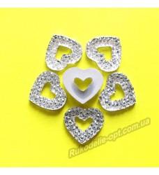 Камни кабошоны All Star сердце с пустой серединкой 15 мм цвет crystal 1000 шт.