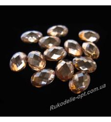 Камни пластиковые овал 5*7 мм цвет золото 2500 шт.