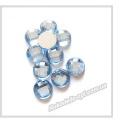 Камни акриловые круг 8 мм плоский низ цвет голубой 2000 шт.