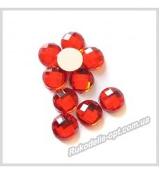 Камни акриловые круг 8 мм плоский низ цвет красный 2000 шт.