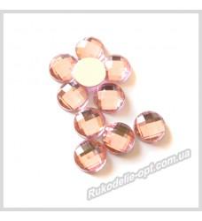 Камни акриловые круг 8 мм плоский низ цвет розовый 2000 шт.