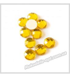 Камни акриловые круг 8 мм плоский низ цвет золото 2000 шт.