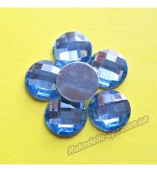 Камни акриловые круг 14 мм плоский низ цвет голубой 500 шт.