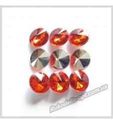 Камни акриловые круг 10 мм конусный низ цвет красный 1000 шт.