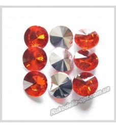 Камни акриловые круг 12 мм конусный низ цвет красный 1000 шт.