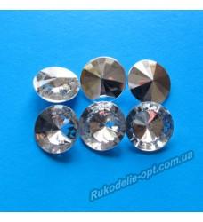 Камни акриловые круг 14 мм конусный низ цвет crystal 500 шт.