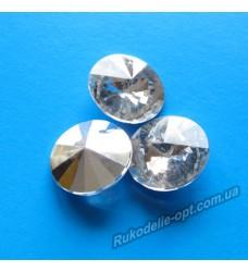Камни акриловые круг 20 мм конусный низ цвет crystal 200 шт.