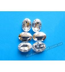 Камни акриловые овал 10*14 мм конусный низ цвет crystal 1000 шт.