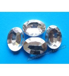 Камни акриловые овал 13*18 мм конусный низ цвет crystal 500 шт.