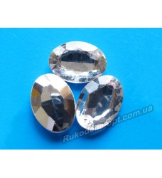 Камни акриловые овал 18*25 мм конусный низ цвет crystal 200 шт.