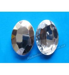 Камни акриловые овал 20*30 мм конусный низ цвет crystal 100 шт.