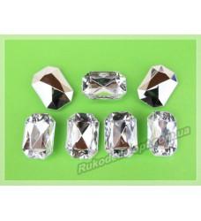 Камни акриловые прямоугольник 13*18 мм конусный низ цвет crystal 500 шт.