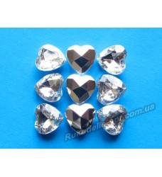 Камни акриловые сердце 10 мм конусный низ цвет crystal 1000 шт.