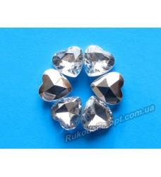 Камни акриловые сердце 12 мм конусный низ цвет crystal 1000 шт.
