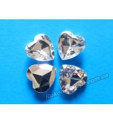 Камни акриловые сердце 14 мм конусный низ цвет crystal 500 шт.