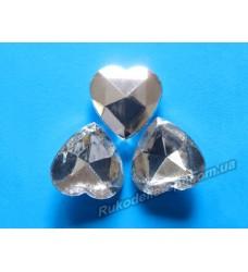 Камни акриловые сердце 18 мм конусный низ цвет crystal 200 шт.