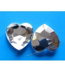 Камни акриловые сердце 27 мм конусный низ цвет crystal 100 шт.