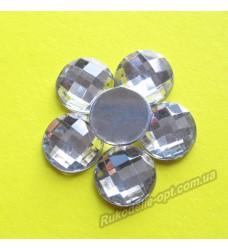 Камни акриловые круг 14 мм плоский низ цвет crystal 500 шт.