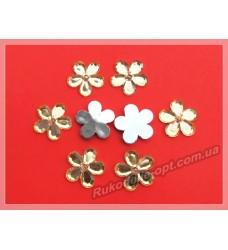 Камни акриловые цветок 22 мм плоский низ цвет золото 500 шт.