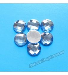 Камни акриловые круг 12 мм плоский низ цвет голубой 1000 шт.