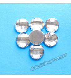 Камни акриловые круг 12 мм плоский низ цвет crystal 1000 шт.