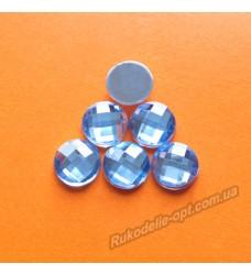 Камни акриловые круг 10 мм плоский низ цвет голубой 2000 шт.