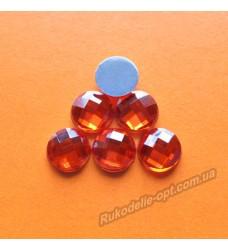 Камни акриловые круг 10 мм плоский низ цвет красный 2000 шт.