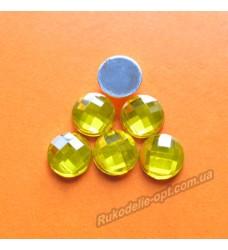 Камни акриловые круг 10 мм плоский низ цвет золото 2000 шт.