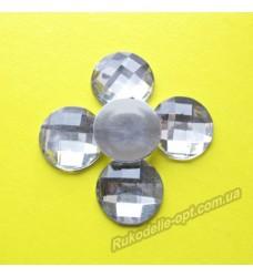 Камни акриловые круг 16 мм плоский низ.