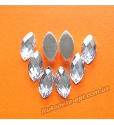 Камни акриловые маркиз 7*15 мм плоский низ цвет crystal 2000 шт.