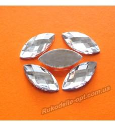 Камни акриловые маркиз 9*20 мм плоский низ цвет crystal 1000 шт.