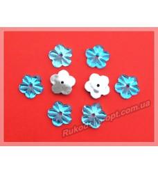 Камни акриловые пришивные цветок 13 мм плоский низ цвет голубой 2000 шт.