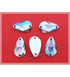 Камни акриловые пришивные капля 11*18 мм плоский низ цвет crystal AB 1000 шт.