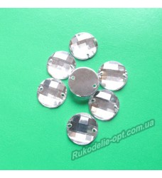 Камни акриловые пришивные круг 10 мм цвет crystal 2000 шт.