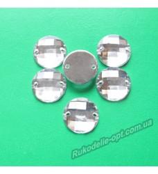 Камни акриловые пришивные круг 12 мм цвет crystal 1000 шт.