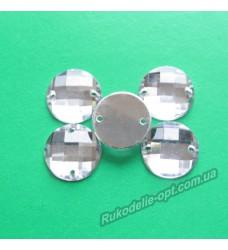 Камни акриловые пришивные круг 14 мм цвет crystal 500 шт.