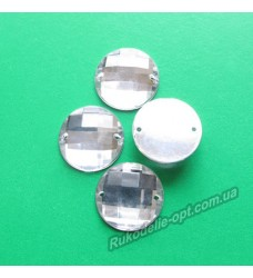 Камни акриловые пришивные круг 16 мм цвет crystal 500 шт.