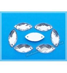 Камни акриловые пришивные маркиз 9*20 мм плоский низ цвет crystal 1000 шт. (эконом)
