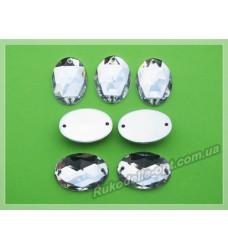 Камни акриловые пришивные овал 13*18 мм цвет crystal 500 шт.