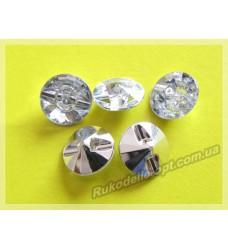 Камни акриловые пришивные пуговица 14 мм конусный низ цвет crystal 500 шт.